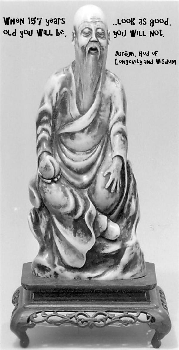 The god of longevity and wisdom sounds an awful lot like Yoda. Looks like him, too.'