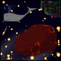 An asteroid passing a whale.