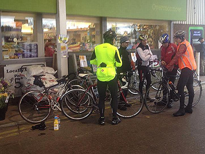 A group of Audax riders stop for a break.