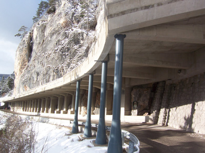 A concrete avalanche gallery used to protect a road from falling snow.