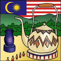 Pilgrims line up before a teapot, in front of a Malaysian flag.