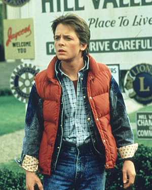 Michael J Fox as Marty McFly in a scene from the 1985 movie 'Back to the Future'