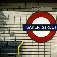 Sherlock Holmes mosaics at Baker Street station on the Bakerloo Line.