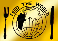 A graphic of a knife and fork with a map of the world representing a plate - the logo for Band Aid's 'Feed the World' campaign.
