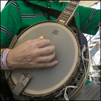 A close-up of someone playing a banjo.