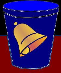 A bell in the blue cup.