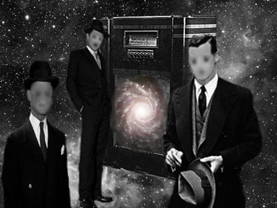 Three men in black around a vintage radio in front of a starry sky.
