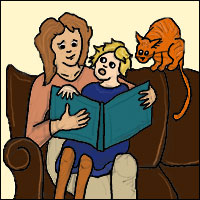 An illustration of a mother and daughter reading a book together, daughter sat on her mother's lap, a cat perched on top of the sofa.