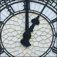 London's Big Ben clock face showing one o'clock.