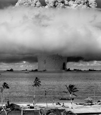 The 'Baker' explosion, part of Operation Crossroads, a nuclear weapon test by the United States military at Bikini Atoll, Micronesia, on 25 July 1946