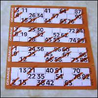 A coloured bingo card.