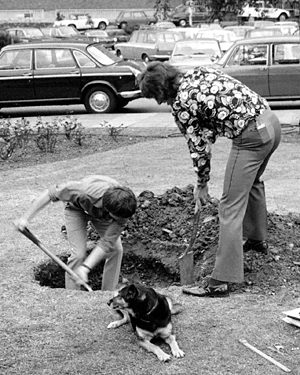 Blue Peter presenters John Noakes and Peter Purves digging a hole at the side of a road in 1971