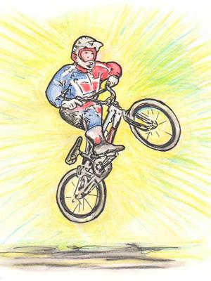 A BMX biker demonstrating a trick
