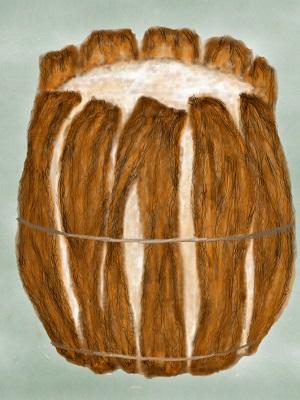 Artist's image of a barrel of bog butter.