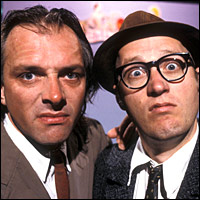 Rik Mayall and Ade Edmondson as their characters from the TV show 'Bottom'.