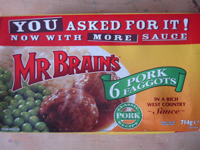 A Foor Packet Label showing Brain's Faggots.