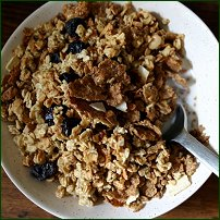 A bowl of mixed breakfast cereal.