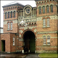 The foreboding frontage of Broadmoor Prison.