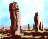 Artist's impression of the stones of the Ring of Brodgar.