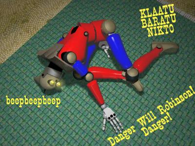 A broken toy robot.