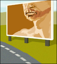 A roadside billboard, the basis for an ingenious advertising campaign.