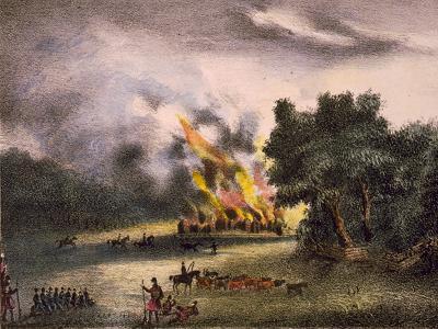 Second Seminole War: Burning of the Town Pilak-Li-Ka-Ha by General Eustis