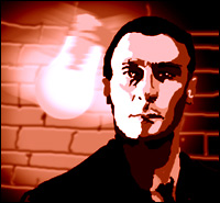 Edward Woodward as Callan, lightbulb swinging behind him.