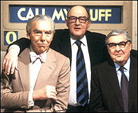 Frank Muir, Robert Robinson and Arthur Marshall, one-time participants in Call My Bluff.