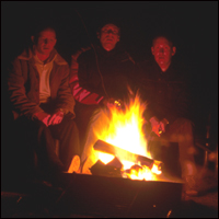 Telling scary stories around a campfire.