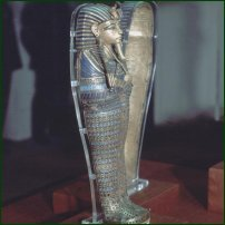 A canopic miniature coffin in the Tutankhamun exhibition at the British Museum in 1972.