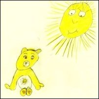 Yellow things: a Care Bear beneath the sun.