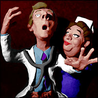 Caricatures of Kenneth Williams and Hattie Jacques from Carry On Matron.