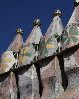 Chimneys designed by Gaudi on the roof of Casa Batllo in Barcelona, Spain