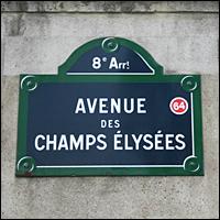 A street sign on the Avenue des Champs Elysees, Paris.