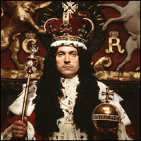 Rufus Sewell playing the part of Charles II at his coronation for the BBC historical drama 'Charles II : The Power and the Passion'.