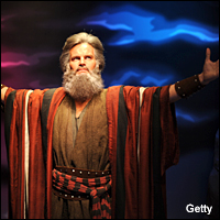 A wax figure of Charlton Heston as Moses at Madame Tussauds in Hollywood, California.