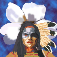 A traditional Cherokee warrior stands in front of the white Cherokee rose.