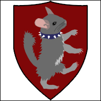 A crest depicting a chinchilla called 'Greg' wearing a spiked collar.