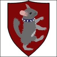 A crest depicting Greg's cousin the chinchilla formally known as 'spike', also sporting  a spiked collar.
