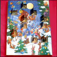 An advent calendar with some of the windows already open.