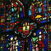 Some stained glass in Notre Dame, Paris.