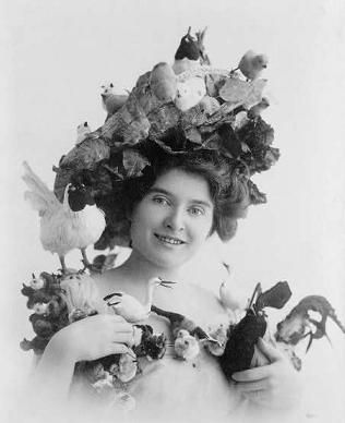 Christie MacDonald in a hat with birds on.