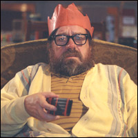 Ricky Tomlinson watching Christmas telly on The Royle Family.