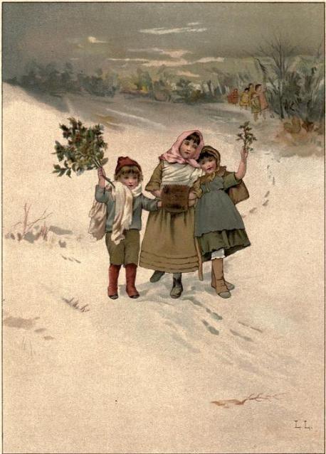 Children in the snow in 1886.