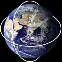 Circular routes across the planet Earth.