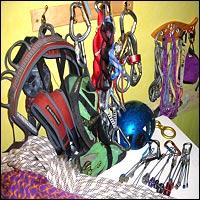 Assorted climbing equipment.