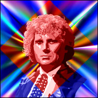 Actor Colin Baker as the sixth 'Doctor Who'. Graphic by Jimster.