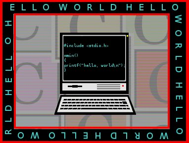 A computer screen displaying 'Hello World'.