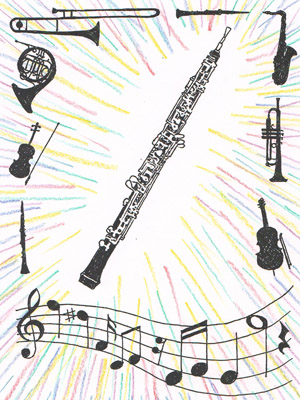 An oboe surrounded by other instruments and some music.