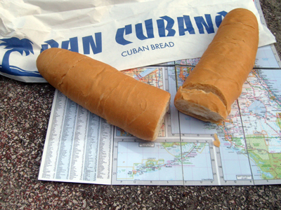 A photograph of a map of the Florida Keys and some Cuban bread.